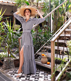Naguabo Three-Quarter Puff Sleeve Belted Tiered Gingham Maxi Dress