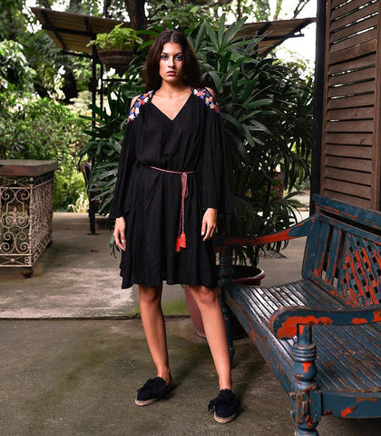 Dress - Ometepe Cut Out Embroidered Dress (Black)