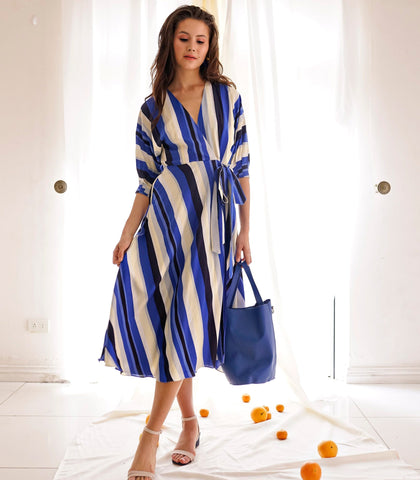 Dress - Ovidu Striped Faux Wrap Dress (Blue)
