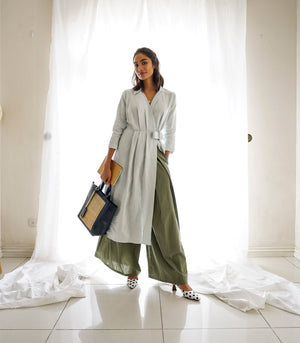 Paskov Pleated Linen Dress (Mint)