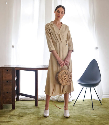 Dress - Paskov Pleated Linen Dress (Oat)