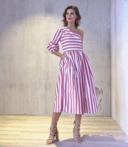 Dress - Patillas One Shoulder Puff Sleeved Striped Dress