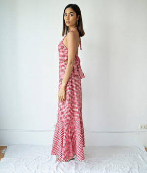 Punata Gingham Tie Back Halter Dress with Tiered Hem