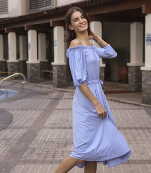 Dress - Puren Off-the-Shoulder Dress With Ribbon Belt