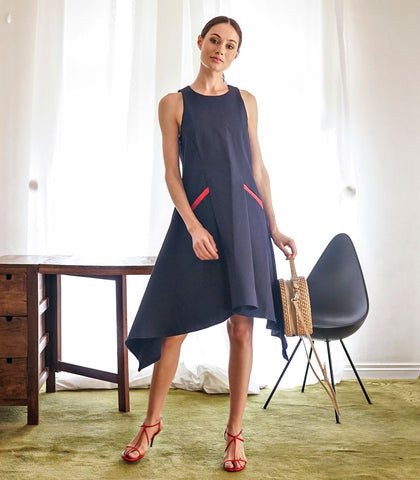 Dress - Rati Sleeveless Tent Dress With Contrast Pockets