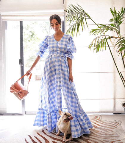 Dress - Rionegro Checkered Puff Sleeve Button-Down Maxi Dress With A Ruffled Hem (Cornflower)