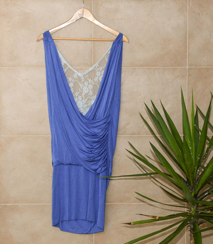 Dress - Sample  246| Blue Drape Lace Dress
