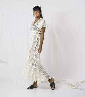Dress - Sefra Sheer Wrap Dress With Ruffled Sleeves And A Tiered Hem