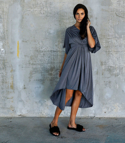 Dress - Selma Brown Wrap-Front Swing Dress