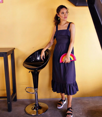 Dress - Sines Tie-Back Maxi Dress (Dark Blue)