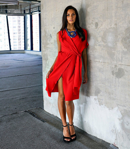 Dress - Skala Red Wrap Dress