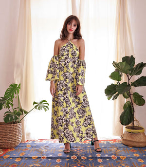 Dress - Tafeni Halter-Off-Shoulder Dress (Floral)