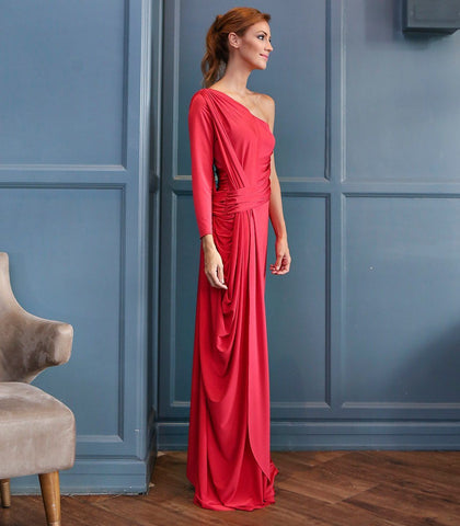 Dress - Teplice One Sided Long Sleeved Draped Jersey Dress