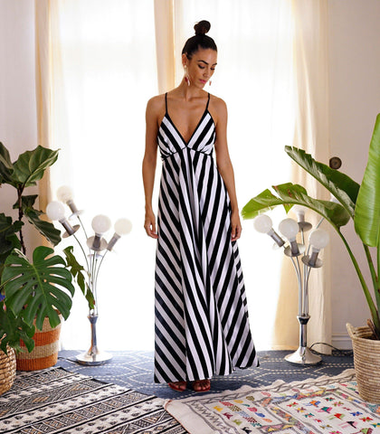 Dress - Terni Striped Crisscross Strap Back Maxi Dress