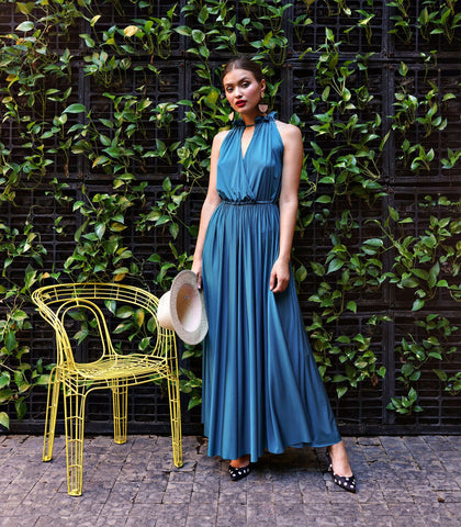 Dress - Trapani Ruched Halter Maxi Dress (Teal)