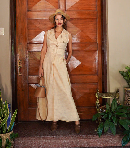 Dress - Trieste Linen Long Trench Dress (Light Peach)