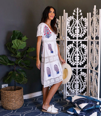 Dress - Tusla Lace And Hand Block Printed Dress (White)