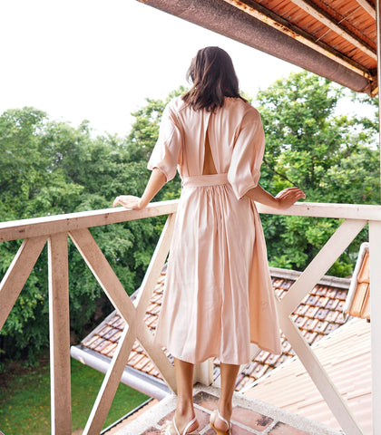 Dress - Ustica Linen Open Back (Blush)