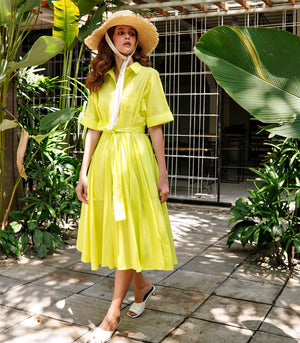 Varkaus Linen Button Down Dress (Lime)
