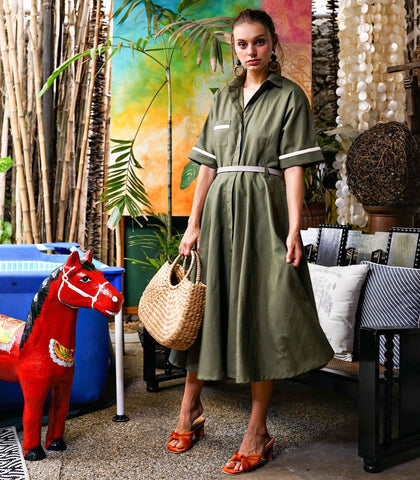 Dress - Varkaus Linen Button Down Dress (Olive)