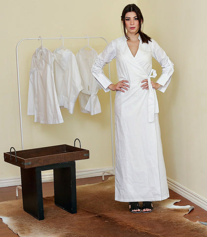 Dress - Warska White Long Wrap Shirt Dress