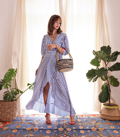 Dress - Wenchi Striped Wrap Dress With Cutout Back