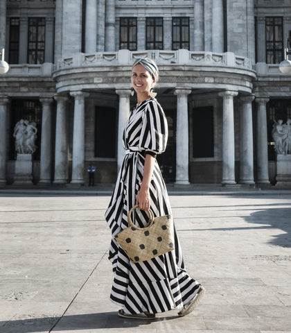Dress - Wenchi Striped Wrap Dress With Cutout Back (Black And White Stripes)