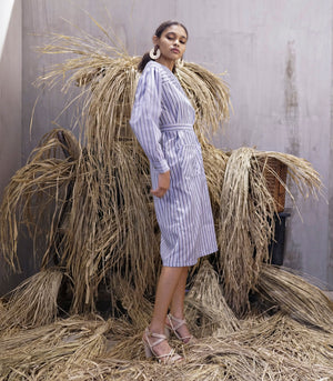 Dress - Zaanstad Diagonal Collar Shirt Dress