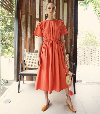 Dress - Zary Tie-Back Midi Dress (Terracotta)