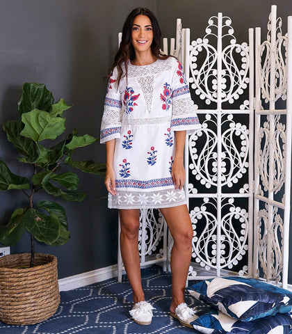 Zepec Lace and Hand Block Printed Mini Dress (White)