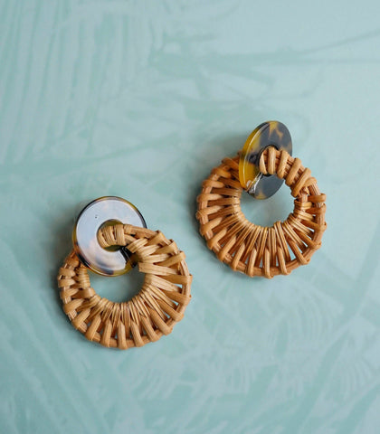 Earrings - Acre Tortoise And Rattan Earrings