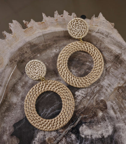 Earrings - Afiya Rattan And Distressed Tin Earrings (2 Variants)