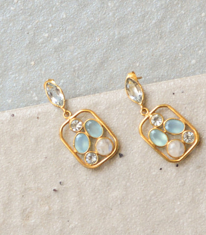 Earrings - Aisha Chalcedony And Moonstone Earrings