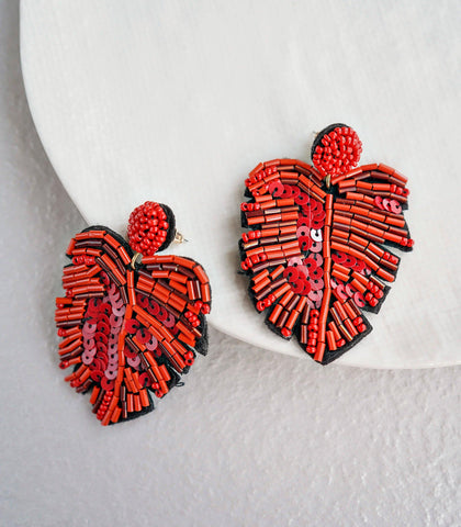 Earrings - Amina Beaded Leaf Earrings (3 Variants)