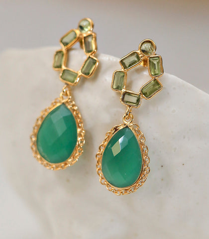 Earrings - Anthea Green Onyx Earrings