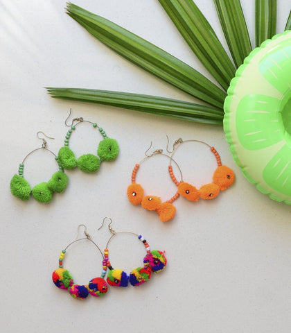 Earrings - Araz Pompom Hoop Earrings