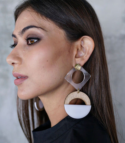 Earrings - Bahati Wood And Acrylic Drop Earrings