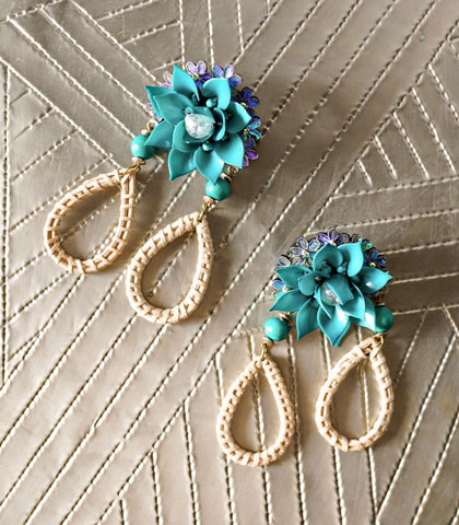 Earrings - Bahola Flora Hoop Drop Earrings