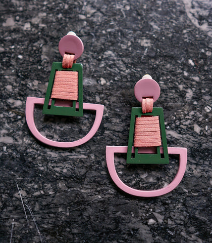 Earrings - Brave Clip On Earrings In Rosey Pink And Military Green- STU Exclusive