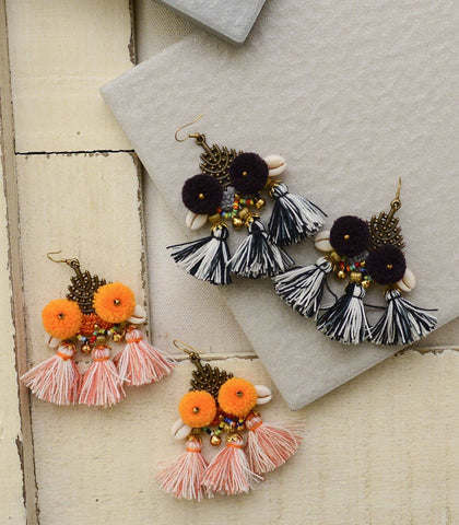 Earrings - Cerro Pompom And Tassel Earrings