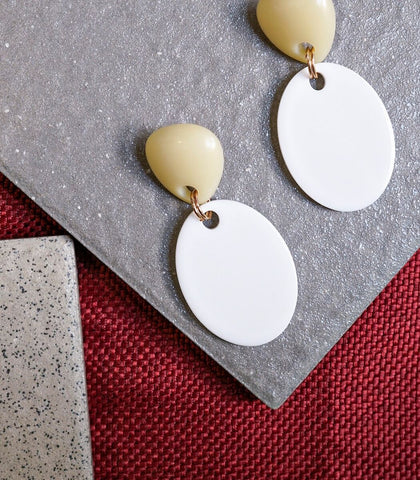 Earrings - Danli Acrylic Disc Drop Earrings