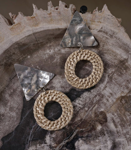 Earrings - Dofi Rattan And Distressed Tin Earrings