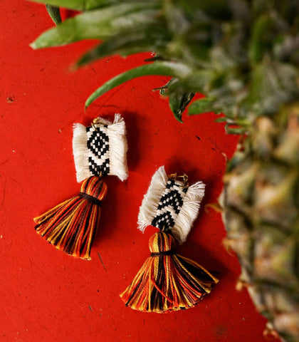 Earrings - Fatiha Tassel Drop Earrings (Papaya Whip)