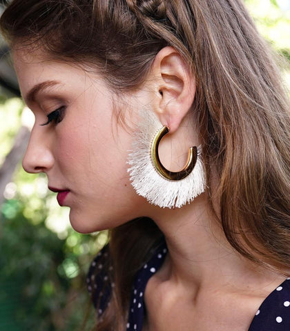 Earrings - Gabriela Fringe Hoop Earrings