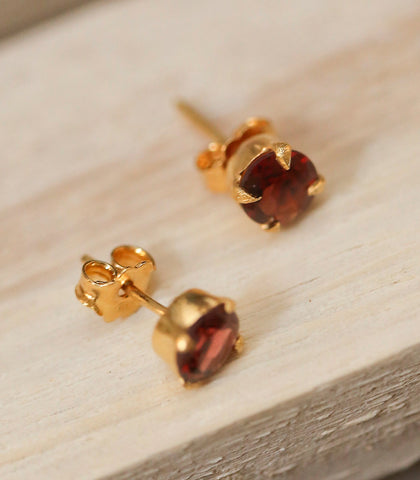 Earrings - Garnet Stud Earrings