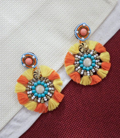 Earrings - Gunes Round Tassel Drop Earrings