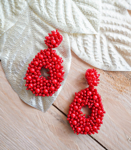 Earrings - Hana Oval Drop Bead Earrings - Red