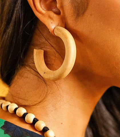 Earrings - Imani Solid Wood Hoop Earrings