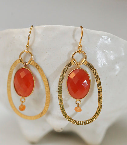 Earrings - Indira Carnelian Earrings