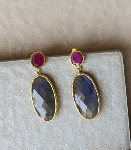 Earrings - Jada Ruby And Labradorite Earrings